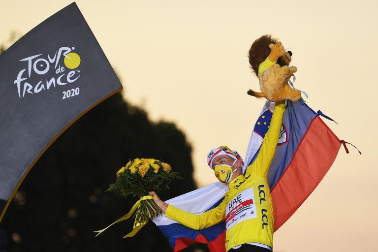 Tadej Pogačar celebrates winning the Tour de France 2020
