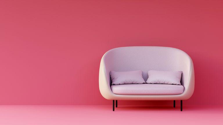 empty pink sofa