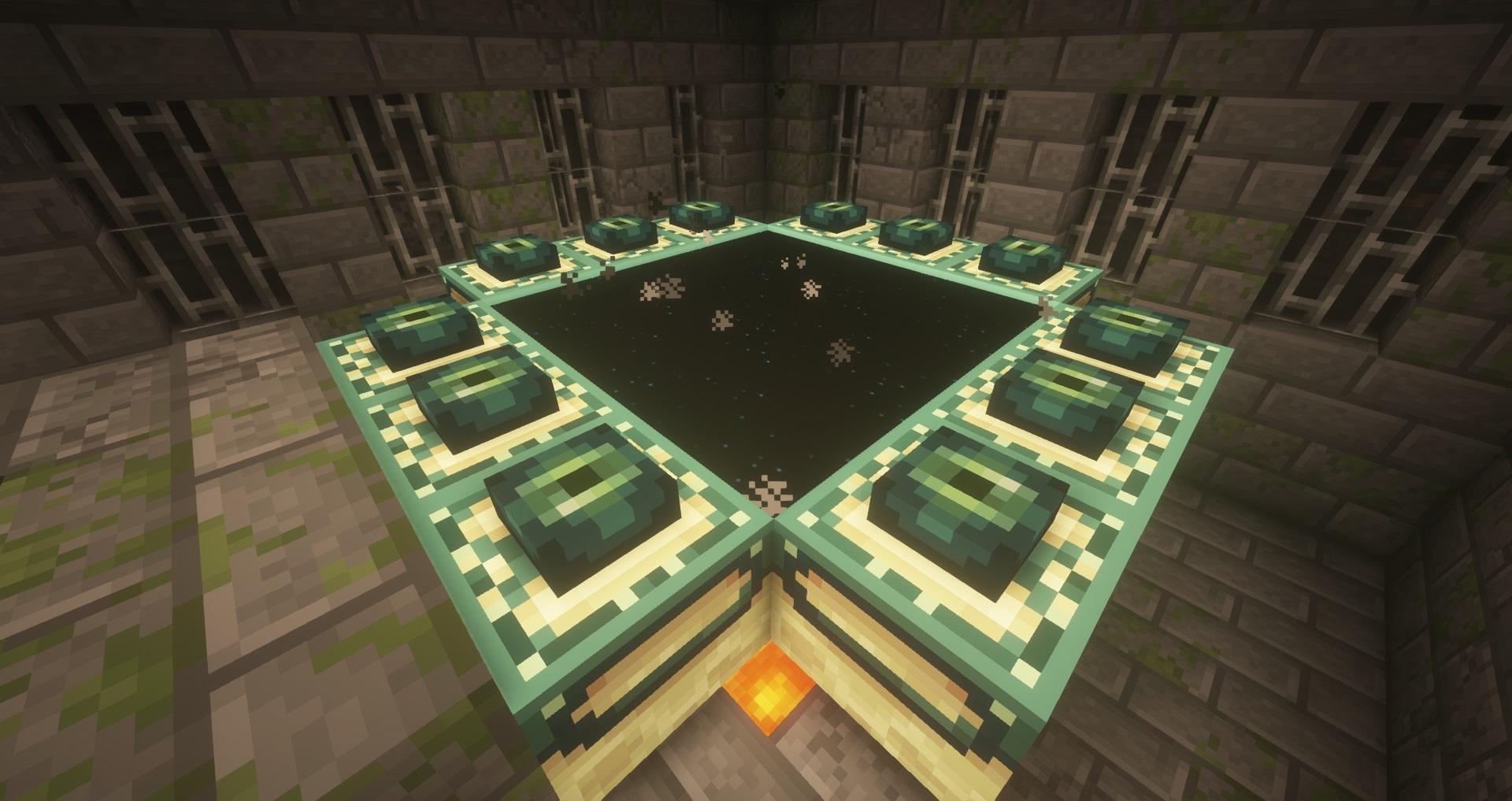 Minecraft seed - 12-eye active end portal - A completed and activated End Portal in a Minecraft stronghold