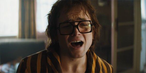 Taron Egerton singing as Elton John in Rocketman