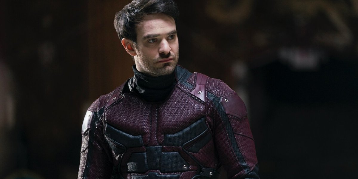 Daredevil Charlie Cox in costume, without his helmet