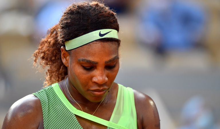 Serena Williams of USA looks on during her Women's Singles fourth round match against Elena Rybakina of Kazakhstan on day eight of the 2021 French Open at Roland Garros on June 06, 2021 in Paris, France.
