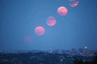 Composite View of Supermoon Rising Over Boston