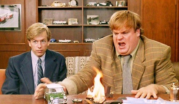 Tommy Boy David Spade and Chris Farley burning car gag