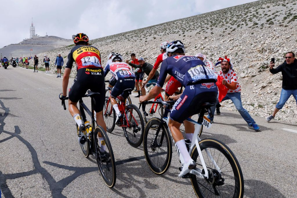 Breakaway riders climb the Mont Ventoux during the 11th stage of the 108th edition of the Tour de France cycling race 198 km between Sorgues and Malaucene on July 07 2021 Photo by Thomas SAMSON AFP Photo by THOMAS SAMSONAFP via Getty Images