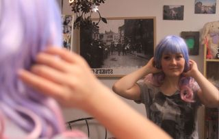 Teenagers vs Cancer - shows Chloe with a colourful wig