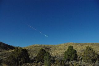 A meteor in the sky above Reno, Nevada on April 22, 2012.