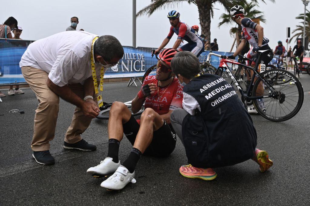 Kevin Ledanois (Arkea-Samsic) crashed in Nice