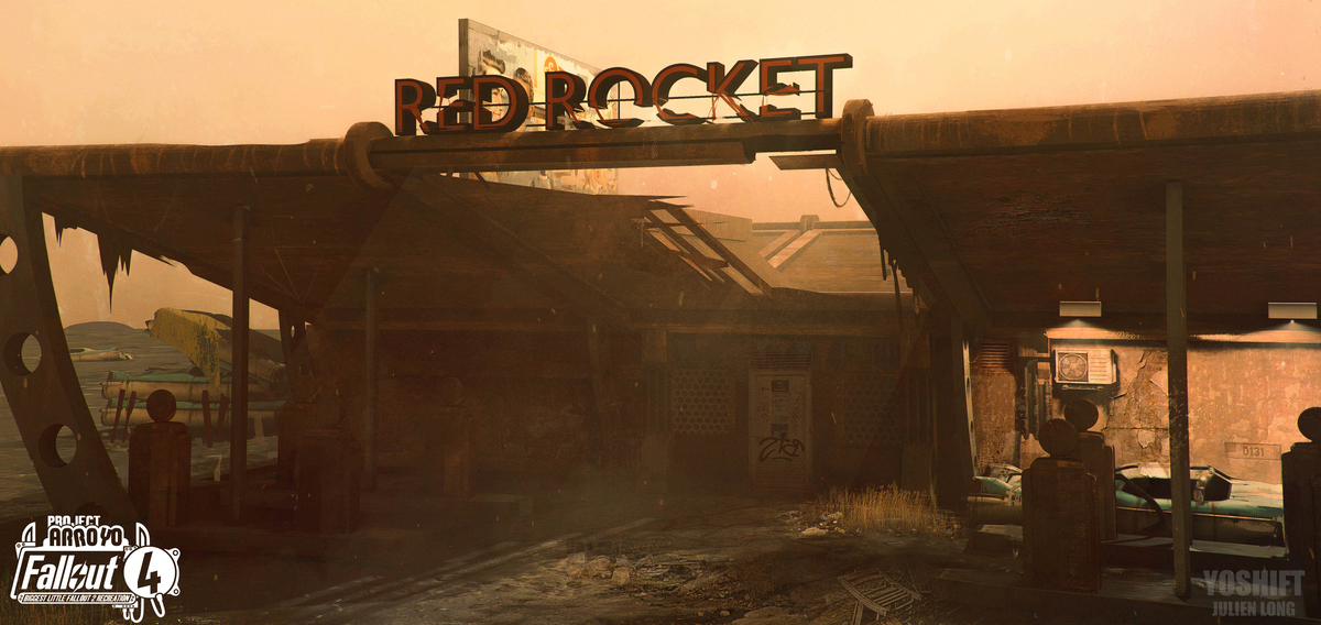 Concept art for a Red Rocket gas station