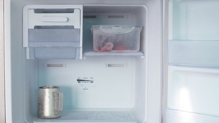 a clear freezer compartment with the door open, with a jug and a tupperware of frozen fruit within it