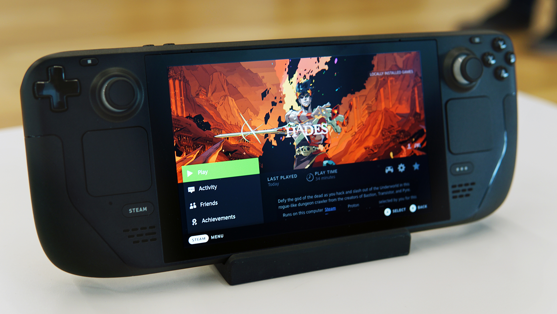 Valve's Steam Deck with Hades ready to launch on screen