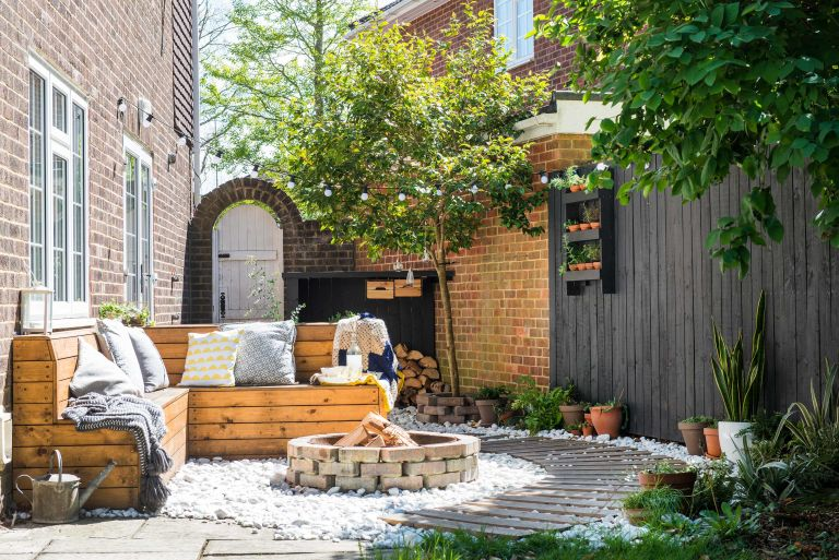 diy patio ideas fire pit and path
