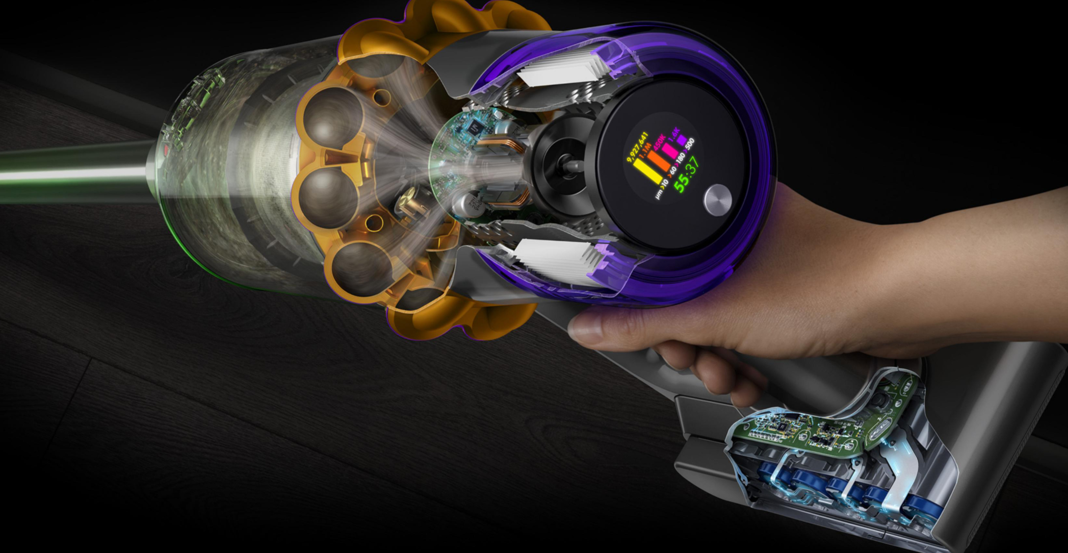 Dyson's new laser-equipped vacuum tallies up dust kill counts like a videogame