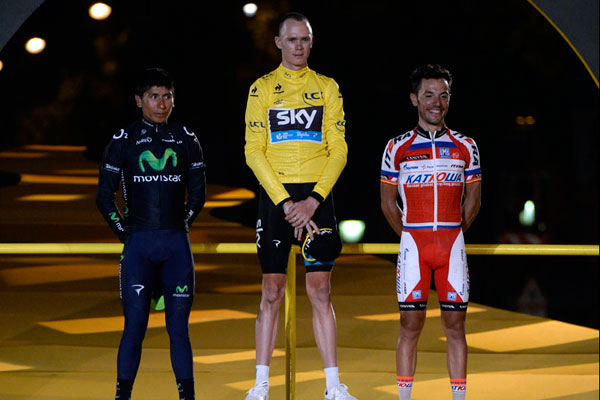 Nairo Quintana, Chris Froome and Joaquim Rodriguez on podium, Tour de France 2013, stage 21