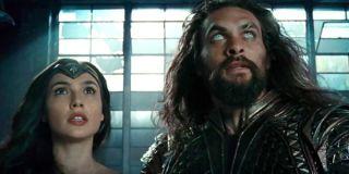 Gal Gadot as Wonder Woman and Jason Momoa as Aquaman in Justice League, DC, Warner Bros.