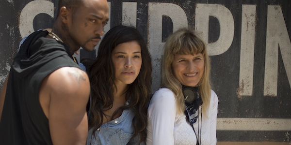 Catherine Hardwicke with Gina Rodriguez and Anthony Mackie on the set of Miss Bala