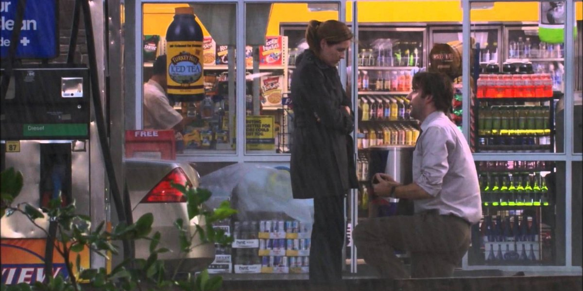 Jim proposing to Pam in The Office.
