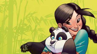 Girl hugging a panda