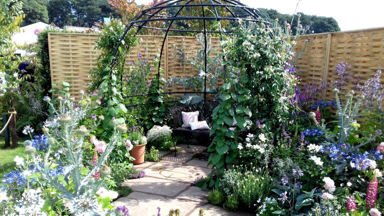 climbing plant support ideas: flower covered bower