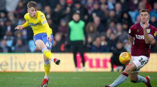 Jack Clarke playing for Leeds against Aston Villa