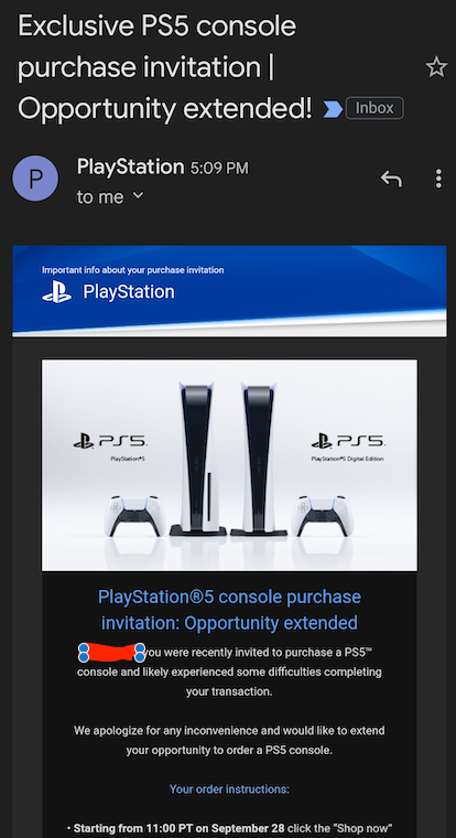 PS5 restock email invite Sony Direct