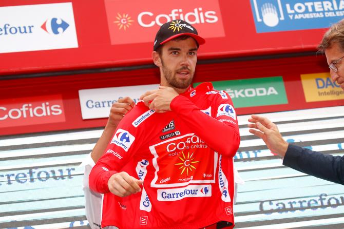 Jesus Herrada (Cofidis) puts on the Vuelta's red jersey after stage 12