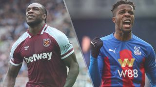 West Ham United vs Crystal Palace live stream — Michail Antonio of West Ham United and Wilfried Zaha of Crystal Palace