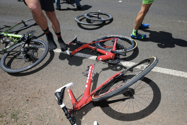 Trek-Segafredo rider s bike snapped clean in half in Herald Sun Tour crash 2b97488fb