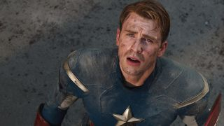 Captain America looking distraught.