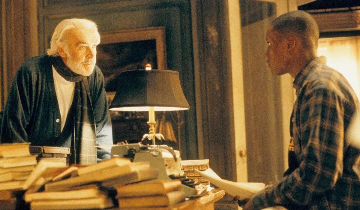Finding Forrester Sean Connery talks to Derek Luke over his desk