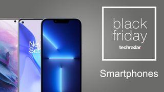 Black Friday 2021: iPhone 13 Pro, Galaxy S21 y OnePlus 9 sobre fondo gris