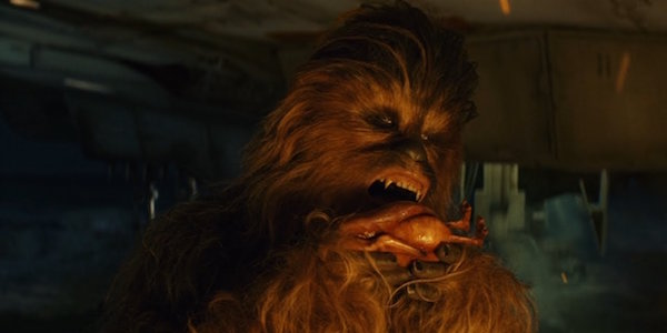 Chewie about to eat a Porg