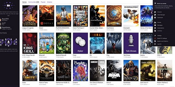 A snapshot of the Twitch games menu.