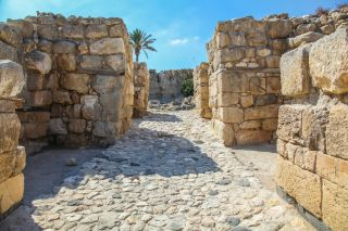Remains of the entrance gate to the ancient city of Megiddo.