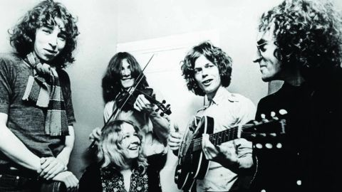 Fairport Convention black and white group photo with Sandy Denny