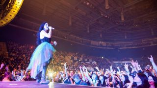 Amy Lee of Evanescence performs during the opening night of the band UK tour on stage at Nottingham Capital FM Arena on November 5, 2012
