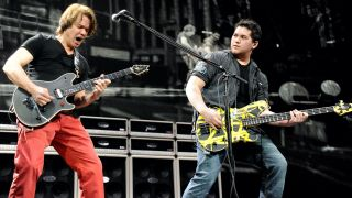 "Eddie Van Halen and Wolfgang Van Halen of Van Halen perform during ""A Different Kind of Truth"" tour at Madison Square Garden on February 28, 2012 in New York City."