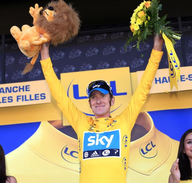 Bradley Wiggins in yellow, Tour de France 2012, stage seven