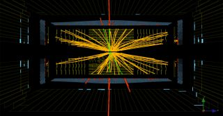LHC's CMS detector observed this collision with signatures that could be due to the Higgs boson.