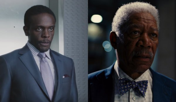 Chris Chalk Morgan Freeman Lucius Fox Gotham The Dark Knight Rises
