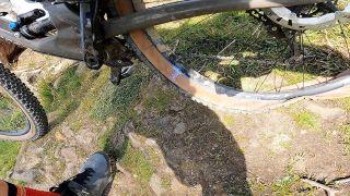 Flat tire on a mountain bike