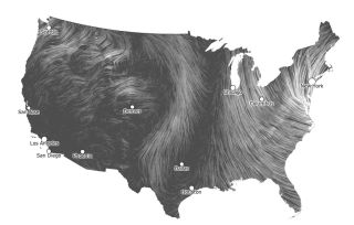 A screenshot of winds from Hurricane Sandy at 12 p.m. Eastern, Monday (Oct. 29). Gusts already exceed 50 mph in places.