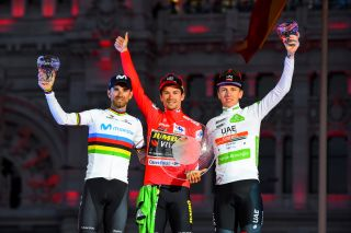 UAE Team Emirates' Tadej Pogacar (right) takes third place at the 2019 Vuelta a España behind Movistar's Alejandro Valverde and winner Primoz Roglic (Jumbo-Visma)