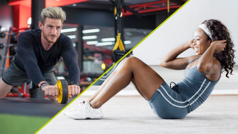 Ab rollers vs crunches: man using an ab roller and woman doing a crunch