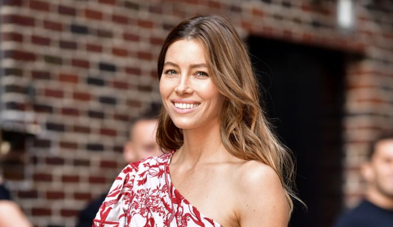 Jessica Biel arrives to 'The Late Show With Stephen Colbert' at the Ed Sullivan Theater on August 15, 2018 in New York City.