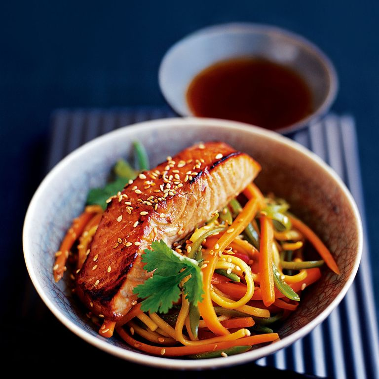 Japanese-Style Salmon with Noodle Stir-Fry recipe-recipe ideas-new recipes-woman and home