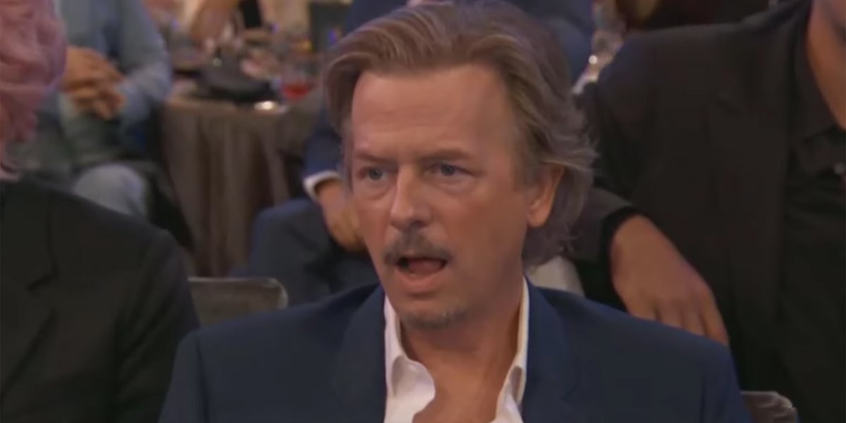David Spade licking his lips at Noah Centineo 2019