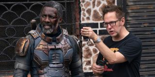 Idris Elba and James Gunn on the set of The Suicide Squad