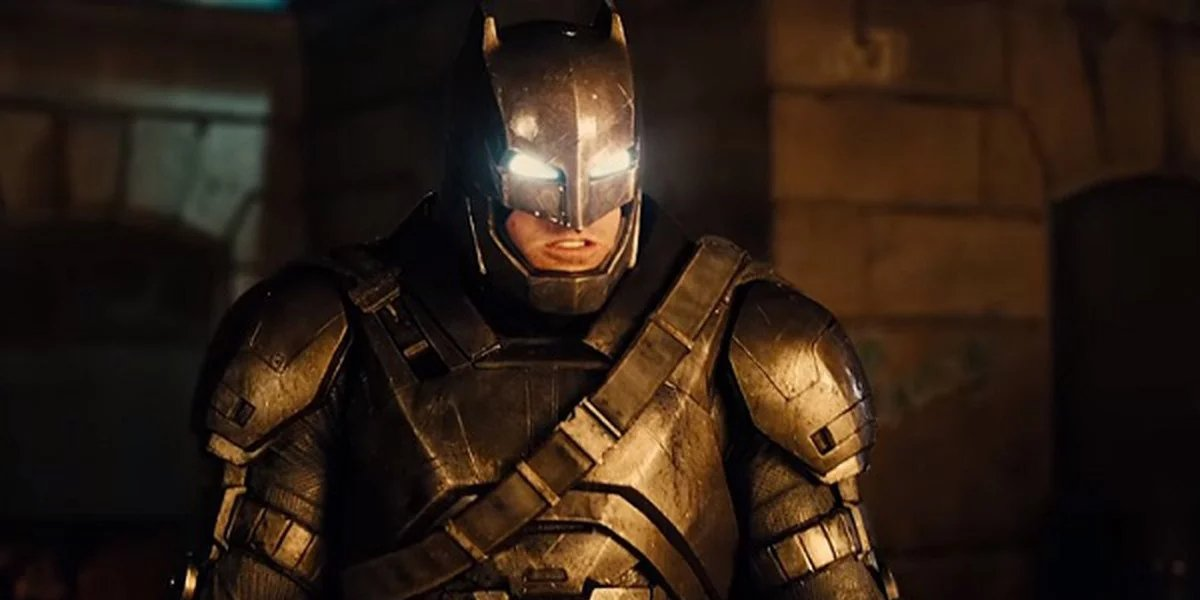 Ben Affleck in his armored suit in Batman v Superman: Dawn of Justice