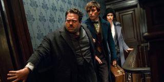 Dan Fogler, Eddie Redmayne and Katherine Waterson in Fantastic Beasts 2